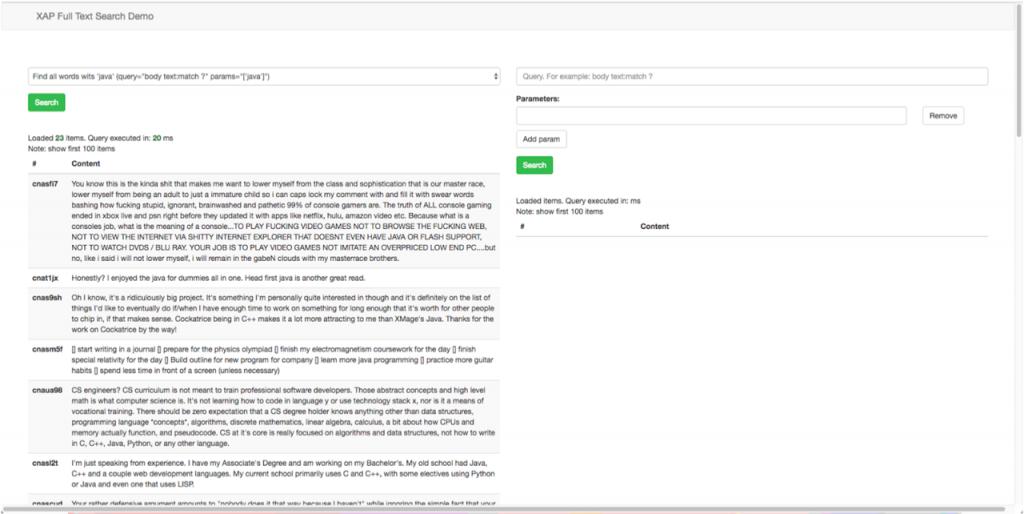 XAP Full text Search demo web app