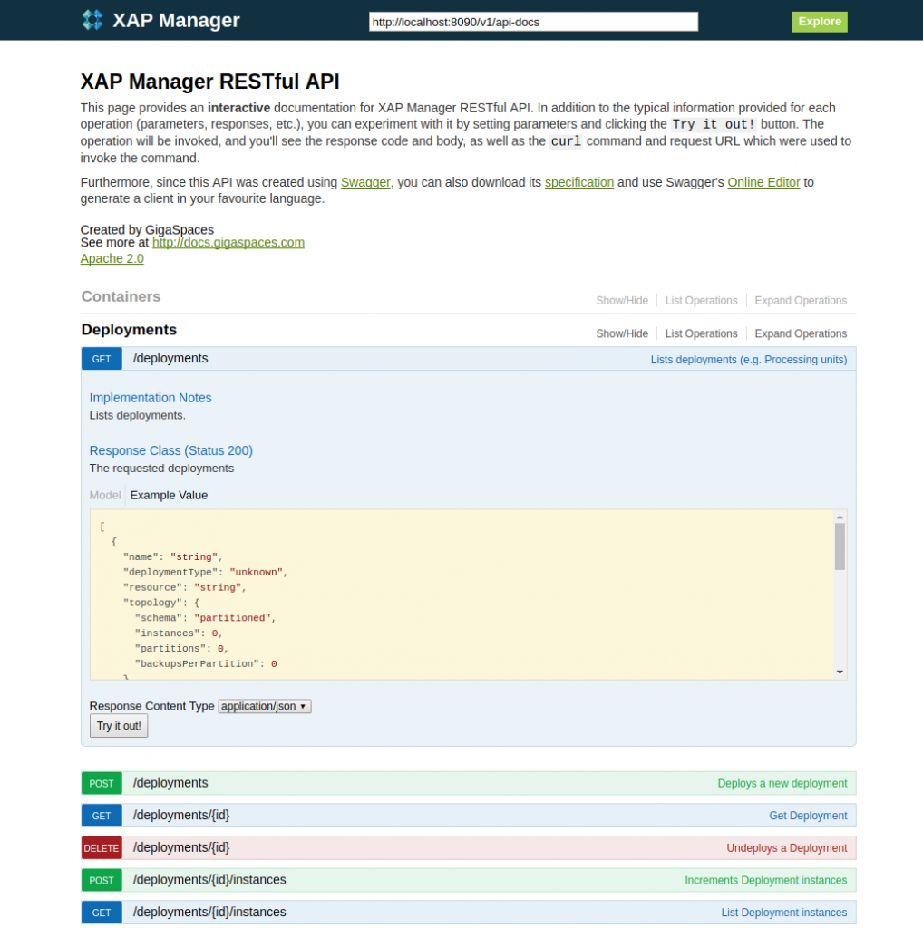XAP Manager RESTful API