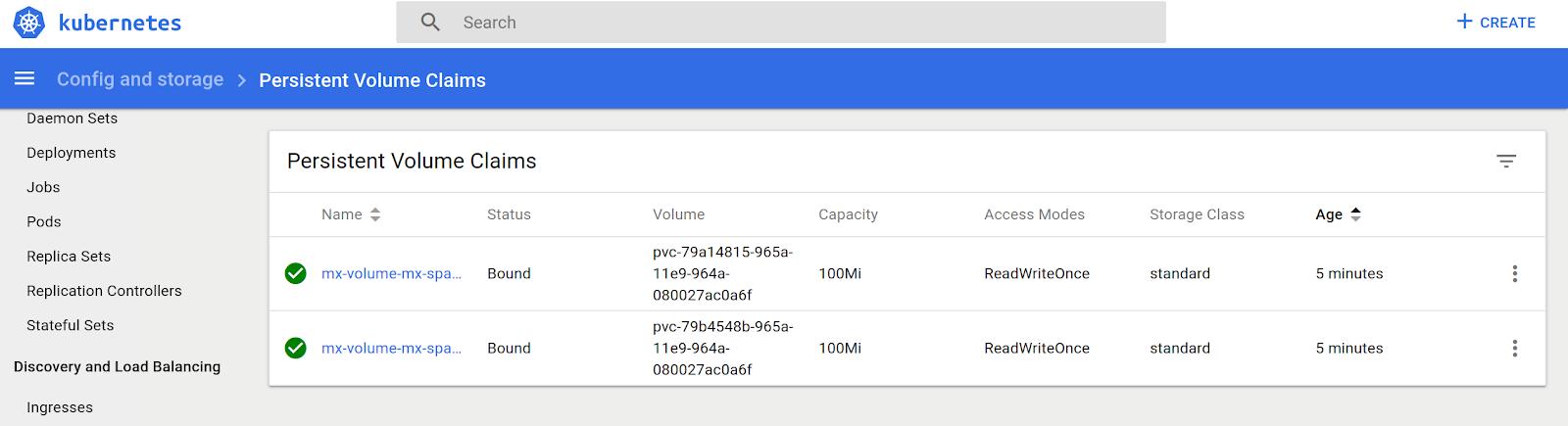 Data Grid ConfiguredS with PersistenceVolumeClaim (PVC)