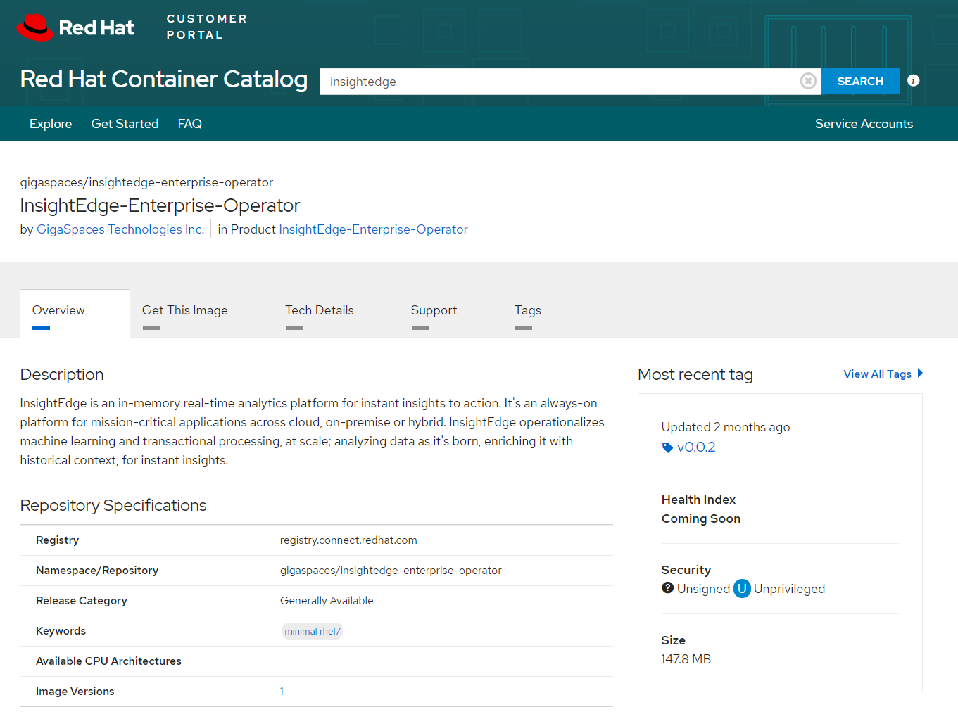 InsightEdge Operator Image in Red Hat Container Catalog